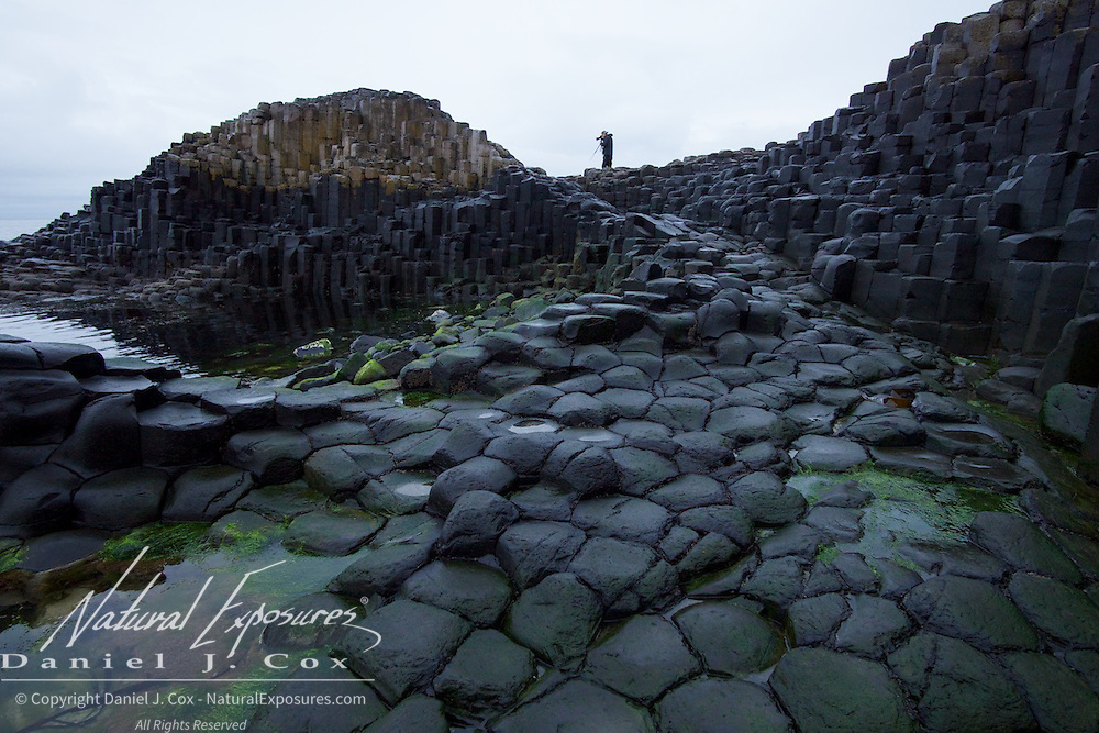 Photographing the basalt columns at Giants Causeway, northern Ireland