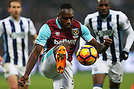 Michail Antonio of West Ham United in action. Premier league match, West Ham Utd v West Bromwich Albion at the London Stadium, Queen Elizabeth Olympic Park in London on Saturday 11th February 2017.<br /> pic by John Patrick Fletcher, Andrew Orchard sports photography.