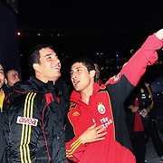 Galatasaray's Arda TURAN (C) and Sabri SARIOGLU (R) during their Friendly soccer match Galatasaray between Ajax at the Turk Telekom Arena at Arslantepe in Istanbul Turkey on Saturday 15 January 2011. Turkish soccer team Galatasaray new stadium Turk Telekom Arena opening ceremony. Photo by TURKPIX