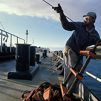 USA, California, Crew works Oil tanker Arco Juneau during voyage from Valdez to San Francisco, California