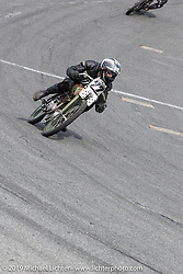 Josh Owens riding a Billy Lane Harley-Davidson board track style motorcycle racer in the Sons of Speed Vintage Motorcycle Races at New Smyrina Speedway. New Smyrna Beach, USA. Saturday, March 9, 2019. Photography ©2019 Michael Lichter.