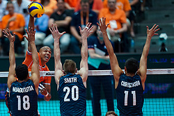 11-08-2019 NED: FIVB Tokyo Volleyball Qualification 2019 / Netherlands - USA, Rotterdam<br /> Final match pool B in hall Ahoy between Netherlands vs. United States (1-3) and Olympic ticket  for USA / (L-R) Garrett Muagututia #18 of USA, Nimir Abdelaziz #14 of Netherlands, David Smith #20 of USA, Micah Christenson #11 of USA