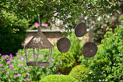 Hanging bird table and sunflower seed bird feeders