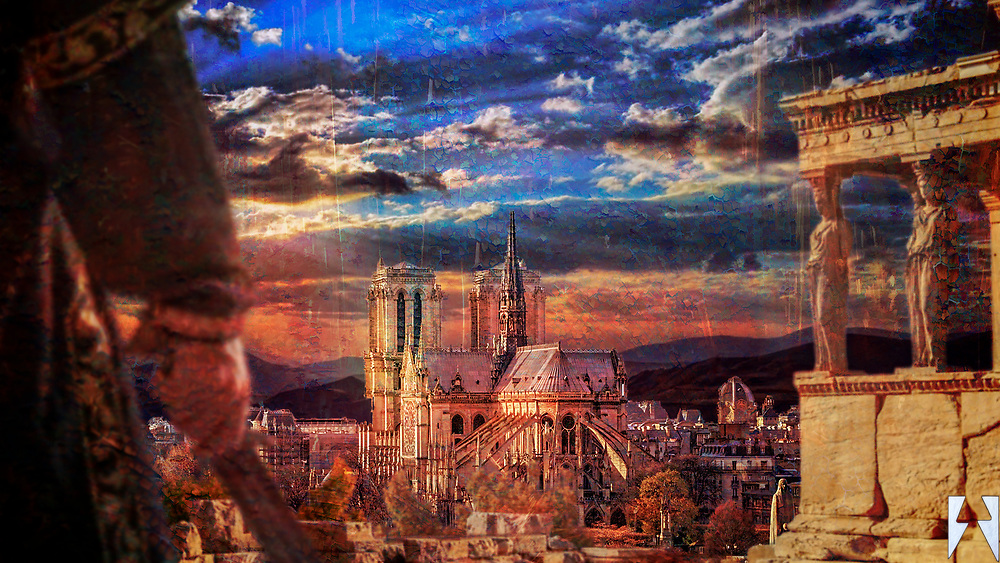 A knight with his sword frames this piece on the left and Roman ruins on the right. In the middle stands Notre Dame cathedral in its glory with a glorious sun bursting through clouds as a backdrop, all textured in fiery red and yellow.