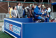 CBS Sports reporter Brent Musburger mans a microphone on the set of CBS The NFL Today at the NFL 1989 NFC Championship football playoff game between the Los Angeles Rams and the San Francisco 49ers on January 14, 1990 in San Francisco, California. The 49ers won the game 40-3. ©Paul Anthony Spinelli