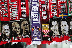 A general view of scarves on sale before the game