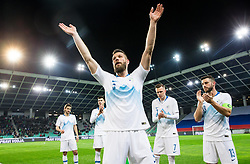 Bostjan Cesar of Slovenia after he played his last 5 min minutes in a National team during friendly football match between National teams of Slovenia and Belarus, on March 27, 2018 in SRC Stozice, Ljubljana, Slovenia. Photo by Vid Ponikvar / Sportida