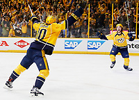 NASHVILLE, TN - MAY 22:  Colton Sissons #10 celebrates a goal by Austin Watson #51 of the Nashville Predators against the Anaheim Ducks during the first period in Game Six of the Western Conference Final during the 2017 Stanley Cup Playoffs at Bridgestone Arena on May 22, 2017 in Nashville, Tennessee.  (Photo by Frederick Breedon/Getty Images)