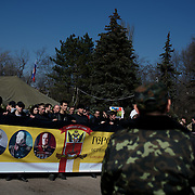 ODESSA, UKRAINE - March 15, 2014: Anti-Maidan protestors in Kulikovo pole square, Odessa. In the past weeks, tensions between pro and anti Russia movements have been raising in Odessa, over the ongoing crisis in the neighbour province of Crimea. CREDIT: Paulo Nunes dos Santos