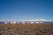 Hay bales and mountain range, Nevada, USA