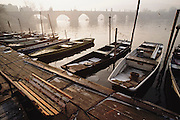 Winter dawn on the Vlatava River. Prague, Czech Republic.