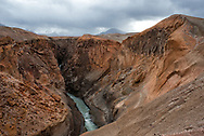 The Lethe River carves deep into ash from the Novarupta Volcano in the Valley of Ten Thousand Smokes, Alaska.