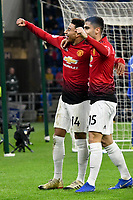 Football - 2018 / 2019 Premier League - Cardiff City vs. Manchester United<br /> <br /> Jesse Lingard of Manchester Utd celebrates scoring his team's 5th goal ,with Andreas Pereira of Manchester Utd at Cardiff City Stadium.<br /> <br /> COLORSPORT/WINSTON BYNORTH