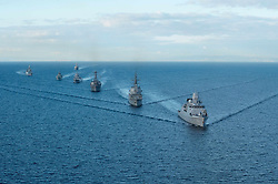 Oct. 18, 2015 - Black Sea, United States of America - The U.S Navy guided-missile destroyer USS Ross steams in formation during the Maritime Theater Missile Defense Forum October 18, 2015 in the North Atlantic. (Credit Image: © Mcs2 Justin Stumberg/Planet Pix via ZUMA Wire)