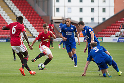 © Licensed to London News Pictures . 15/08/2016 . Leigh , UK . MATTHEW WILLOCK on the ball . Manchester United vs Leicester City reserves at Leigh Sports Village Stadium . Photo credit : Joel Goodman/LNP