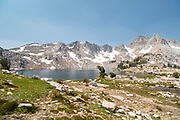 The view along the John Muir Trail at Chief Lake, John Muir Wilderness, Sierra National Forest, Sierra Nevada Mountains, California, USA.