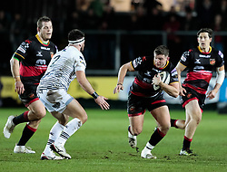 Dragons' Elliot Dee lines up Ospreys' Scott Baldwin<br /> <br /> Photographer Simon King/Replay Images<br /> <br /> Guinness Pro14 Round 12 - Dragons v Cardiff Blues - Sunday 31st December 2017 - Rodney Parade - Newport<br /> <br /> World Copyright © 2017 Replay Images. All rights reserved. info@replayimages.co.uk - http://replayimages.co.uk