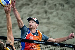 Alexander Brouwer in action during the third day of the beach volleyball event King of the Court at Jaarbeursplein on September 11, 2020 in Utrecht.