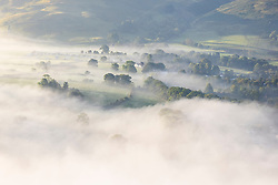 © Licensed to London News Pictures. 07/09/2021. Keswick UK. Low lying cloud covers the town of Keswick in the lake dirstict this morning. Photo credit: Andrew McCaren/LNP
