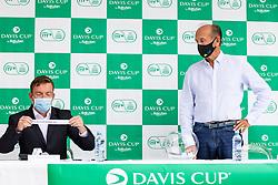 Jiri Adamovsky (ITF) and Miran Krasevec at public draw for Davis Cup World Group II 1st Round between Slovenia and Paraguay at Hotel Slovenija, on September 16, 2021 in Portoroz / Portorose, Slovenia. Photo by Matic Klansek Velej / Sportida