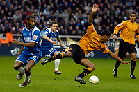 Photo: Ed Godden/Sportsbeat Images.<br />Wolverhampton Wanderers v Oldham Athletic. The FA Cup. 06/01/2007. Oldham's Paul Edwards (L), fouls Mark Little (R).