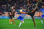 Hartlepool United striker Padraig Amond (9) takes a shot which is blocked by Barnet defender Bondz N'Gala (5) during the EFL Sky Bet League 2 match between Barnet and Hartlepool United at Underhill Stadium, London, England on 29 October 2016. Photo by Jon Bromley.