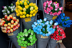 Detail of many colourful plastic tulip flowers in a tourist shop in Amsterdam Netherlands