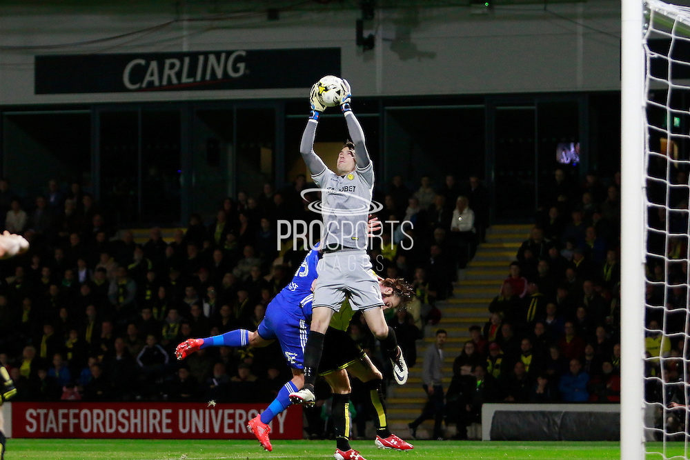 Burton's Jon McLaughlin (1) makes a save during the EFL Sky Bet Championship match between Burton Albion and Birmingham City at the Pirelli Stadium, Burton upon Trent, England on 21 October 2016. Photo by Richard Holmes.
