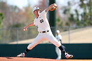 CARY, NC - MARCH 04: Notre Dame's Brad Bass. The University of Massachusetts Lowell River Hawks played the University of Notre Dame Fighting Irish on March 4, 2017, at USA Baseball NTC Stadium Field in Cary, NC in a Division I College Baseball game, and part of the Irish Classic tournament. UMass Lowell won the game 8-0.