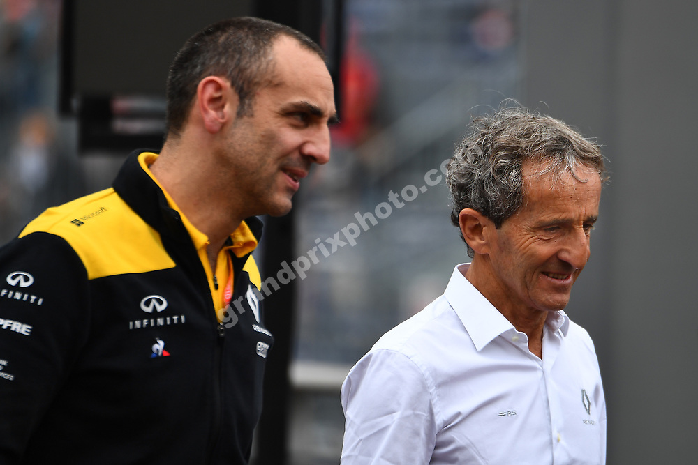 Cyril Abiteboul and Alain Prost (both Renault) after practice before the 2019 Monaco Grand Prix. Photo: Grand Prix Photo