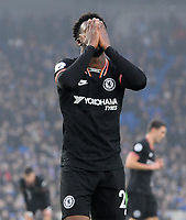 Football - 2019 / 2020 Premier League - Brighton & Hove Albion vs. Chelsea<br /> <br /> Callum Hudson - Odoi of Chelsea covers his face after missing a great chance, at The Amex.<br /> <br /> COLORSPORT/ANDREW COWIE