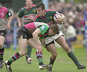 Twickenham, Surrey, England,  UK., 14/05/2003,  Martin Corry, attacks on the wing evading, Dan Luger's, tackle, during, the Zurich Premiership Rugby match, NEC Harlequins vs Leicester Tigers, played at the Stoop Memorial Ground, [Mandatory Credit: Peter Spurrier/Intersport Images]
