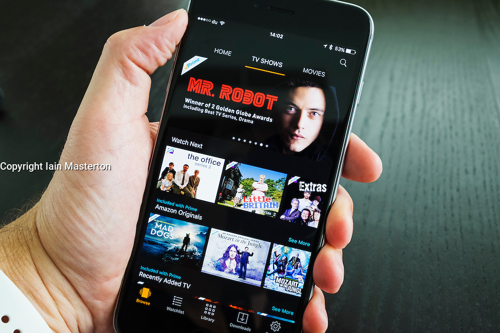 Homepage of Amazon Prime Video streaming service on an iPhone 6 plus smart phone