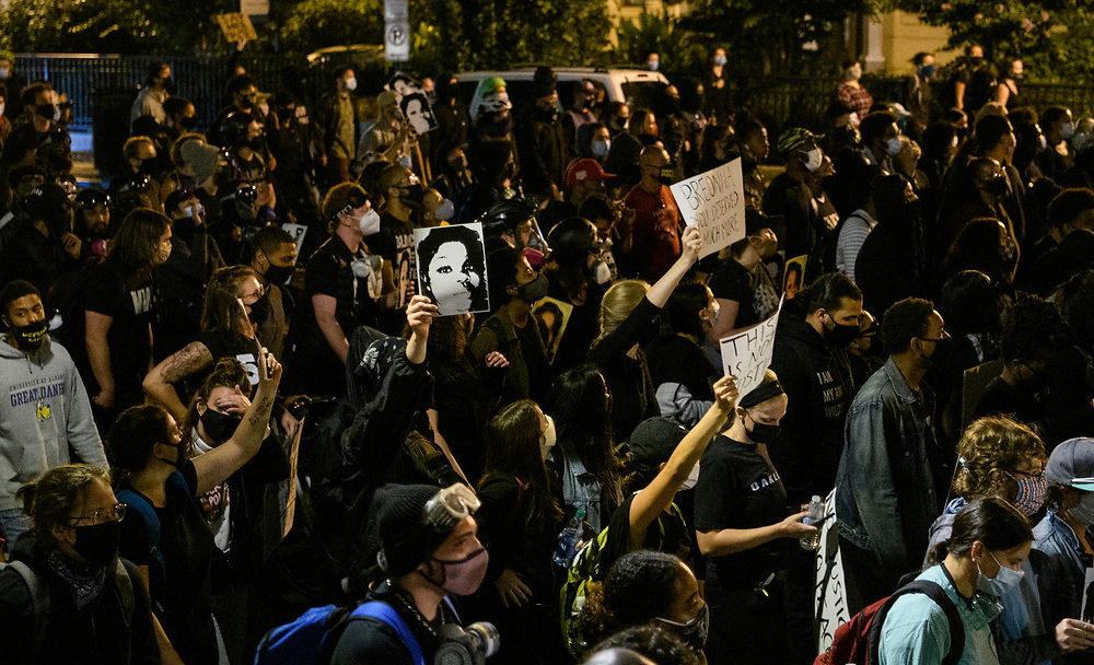 Protestors gather Wednesday night in Washington DC to protest after former police officer, Brett Hankison, was indicted only on first-degree wanton endangerment charges for his actions on the night Breonna Taylor was killed by police.