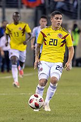 September 11, 2018 - East Rutherford, NJ, U.S. - EAST RUTHERFORD, NJ - SEPTEMBER 11: Colombia midfielder Juan Quintero (20) controls the ball during the second half of the International Friendly Soccer match between Argentina and Colombia on September 11, 2018 at MetLife Stadium in East Rutherford, NJ. (Photo by John Jones/Icon Sportswire) (Credit Image: © John Jones/Icon SMI via ZUMA Press)
