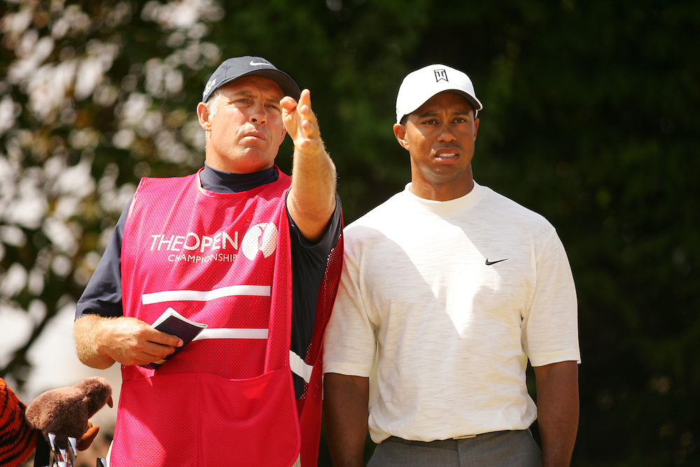 Tiger Woods.Steve Williams ( caddie ).2006 British Open Championship.Royal Liverpool GC.Hoylake, England UK.2nd Round.07-21-06.Photograph by Darren Carroll. .