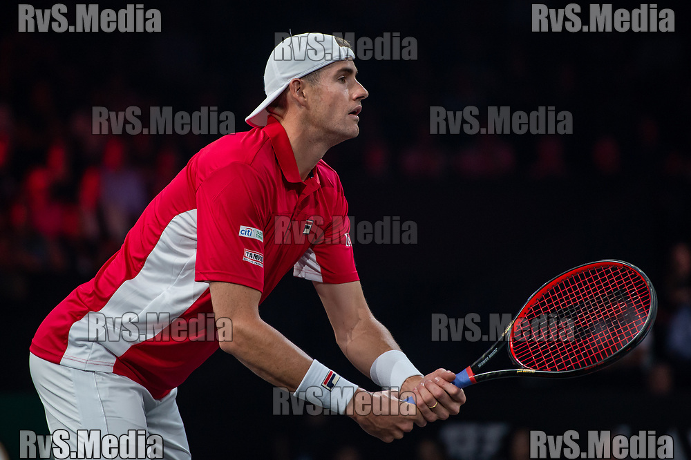 GENEVA, SWITZERLAND - SEPTEMBER 21: John Isner of Team World looks on during Day 2 of the Laver Cup 2019 at Palexpo on September 21, 2019 in Geneva, Switzerland. The Laver Cup will see six players from the rest of the World competing against their counterparts from Europe. Team World is captained by John McEnroe and Team Europe is captained by Bjorn Borg. The tournament runs from September 20-22. (Photo by Monika Majer/RvS.Media)