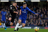 Eden Hazard of Chelsea (R) battles with Marc Albrighton of Leicester City (L). Premier League match, Chelsea v Leicester City at Stamford Bridge in London on Saturday 13th January 2018.<br /> pic by Steffan Bowen, Andrew Orchard sports photography.
