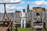 Warkworth, Northumberland, England, UK. 22nd May 2021. Warkworth CC host Blue Flames CC, against the backdrop of Warkworth Castle in Northumberland.