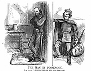 Unification of Italy: Victor Emmanuel II (1820-1878), first king of Italy from February 1861, knocking on the door of Naples which Garibaldi (1807-1882) with his Red Shirts has conquered on behalf of the new Kingdom of Italy. John Tenniel cartoon from 'Punch', London, 6 October 1860. Wood engraving.