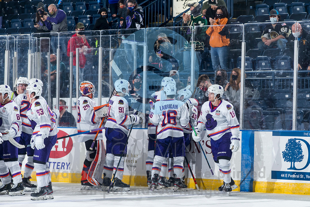 Youngstown Phantoms defeat the Muskegon Lumberjacks 4-3 in overtime at the Covelli Centre on December 5, 2020.<br /> <br /> Kyle Chauvette, goalie, 29