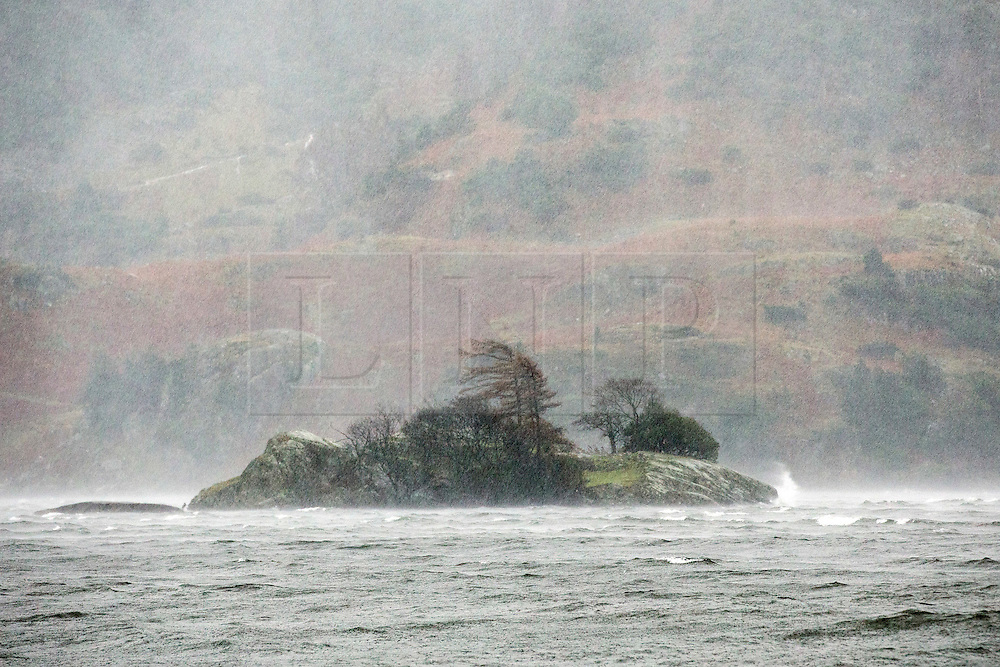 © Licensed to London News Pictures. 26/01/2016. Ullswater UK. A tiny island in the middle of Ullswater lake is battered by Storm Jonas this morning. Photo credit: Andrew McCaren/LNP