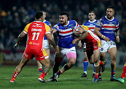 Wakefield Trinity's David Fifita powers through during the Betfred Super League match at Belle Vue, Wakefield.