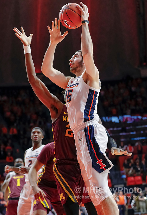 CHAMPAIGN, IL - JANUARY 16: Giorgi Bezhanishvili #15 of the Illinois Fighting Illini shoots the ball during the game against the Minnesota Golden Gophers at State Farm Center on January 16, 2019 in Champaign, Illinois. (Photo by Michael Hickey/Getty Images) *** Local Caption *** Giorgi Bezhanishvili