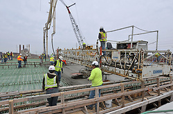 Concrete Pour at the New Pearl Harbor Memorial Bridge, New Haven Harbor Crossing Corridor. CT DOT Contract B1 Project No. 92-618 Progress Photography. Northbound West Approaches. Eighth on site photo capture of every four month chronological documentation.