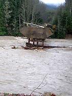 WA DNR no. 1 road bridge across the Nisqually River near Ashford, WA washed out November 6, 2006