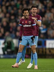 Felipe Anderson of West Ham United (L) celebrates scoring his sides first goal - Mandatory by-line: Jack Phillips/JMP - 10/11/2018 - FOOTBALL - The John Smith's Stadium - Huddersfield, England - Huddersfield Town v West Ham United - English Premier League