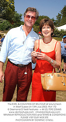 The EARL & COUNTESS OF BALFOUR at a luncheon in West Sussex on 13th July 2003.PLK 172