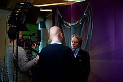 CARDIFF, ENGLAND - Tuesday, February 21, 2017:Karen Espelund, UEFA Chair of Women's Football Committee is interviewed by a TV crew in Cardiff Library to promote the men's and women's UEFA Champions League Finals being staged in Cardiff this June. (Pic by Paul Greenwood/Propaganda)