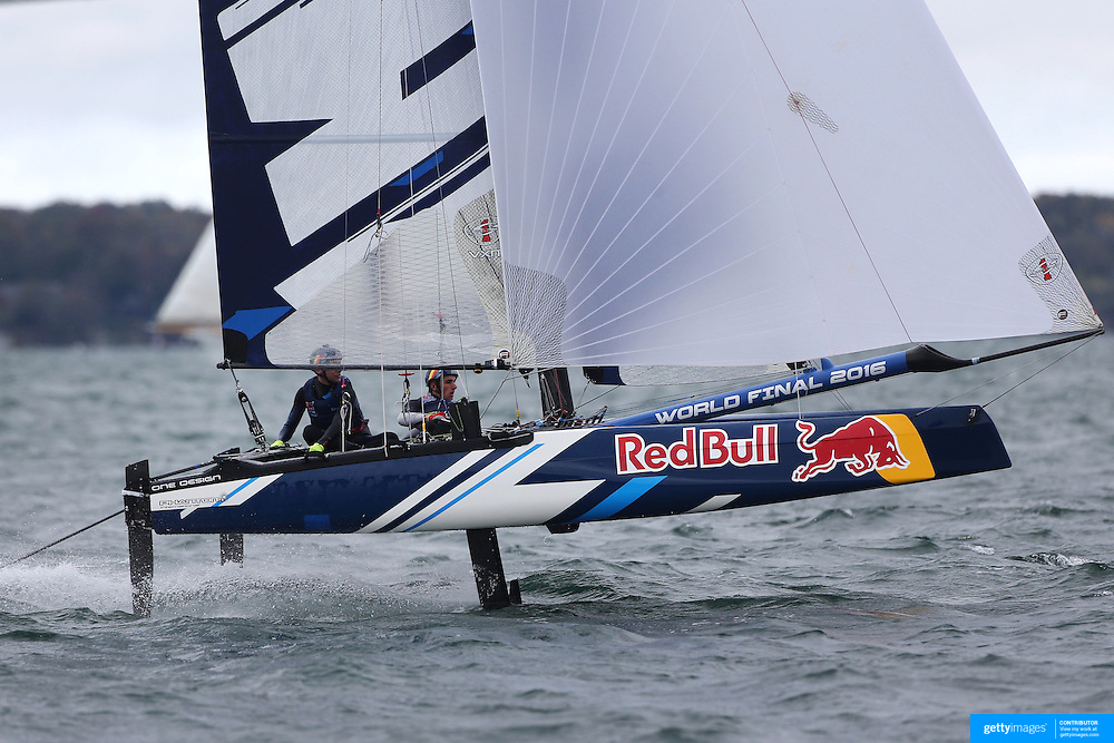 NEWPORT, RHODE ISLAND- OCTOBER 22:  The Belgium team of Alec Bague and Wirtz Morgan in action during the Red Bull Foiling Generation World Final 2016 on October 22, 2016 in Narragansett Bay, Newport, Rhode Island. (Photo by Tim Clayton/Corbis via Getty Images)